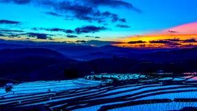 Le laps de temps, ciel après coucher du soleil au-dessus des gisements de riz s'est reflété dans l'eau banque de vidéos
