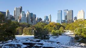 Le laps de temps froid merveilleux de début de la matinée d'hiver 4k régulier a tiré de l'horizon du centre de Central Park Manha banque de vidéos