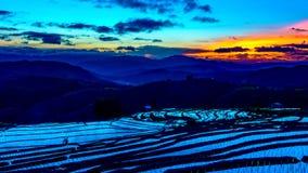 Le laps de temps, nuages se déplaçant au-dessus des gisements de riz s'est reflété dans l'eau clips vidéos