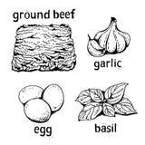 Le lasagne al forno vector l'insieme, raccolta del fumetto illustrazione di stock