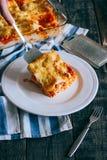 Le lasagne traditionnel a fait avec de la sauce bolonaise ? boeuf hach? compl?t?e avec des feuilles de coriandre servies sur un p photo stock