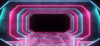 Le laser bleu de l'ultraviolet de fond de Sci fi de Cyberpunk de rose lumineux cosmique psychédélique futuriste au néon de pourpr illustration libre de droits