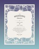 Le laser a coupé l'invitation de mariage de vecteur avec des fleurs d'orchidée pour le panneau décoratif Photo libre de droits