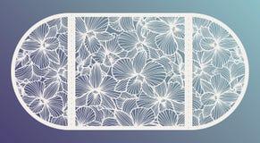 Le laser a coupé l'invitation de mariage de vecteur avec des fleurs d'orchidée pour le panneau décoratif illustration stock