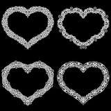 Le laser a coupé le cadre sous forme de coeur avec la frontière de dentelle Un ensemble des bases Photos stock