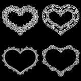 Le laser a coupé le cadre sous forme de coeur avec la frontière de dentelle Un ensemble des bases pour le napperon de papier pour Image libre de droits