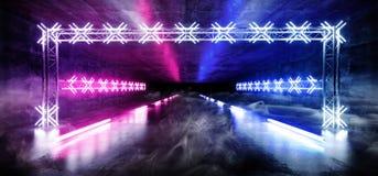 Le laser rougeoyant au néon d'exposition souterraine de tunnel de structure de construction en métal de Sci fi Asphalt Futuristic illustration de vecteur