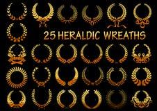 Le laurier d'or héraldique tresse des icônes illustration libre de droits