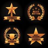 Le laurier de tasse d'étoile de trophées d'or de collection attribue la meilleure actrice d'acteur illustration libre de droits