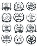 Le laurier tresse des labels et badges la collection Illustration de Vecteur