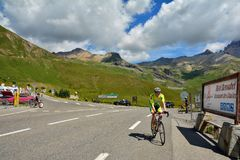Col du Lautaret, France. LE LAUTARET, FRANCE - JULY, 17, 2017.Col du  Lautaret, high mountain pass in the department of Hautes-Alpes ,communication route between Stock Photos