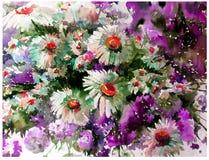 Le lavage humide de camomille de fond d'art d'aquarelle de pré texturisé frais créatif de fleurs a brouillé l'imagination de chao Image libre de droits