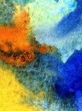 Le lavage humide texturisé frais créatif du monde sous-marin de mer de fond d'art d'aquarelle a brouillé l'imagination de chaos d Images stock