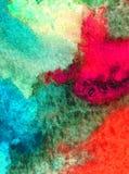Le lavage humide texturisé frais créatif du monde sous-marin de mer de fond d'art d'aquarelle a brouillé l'imagination de chaos d Photo stock