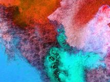 Le lavage humide texturisé frais créatif du monde sous-marin de mer de fond d'art d'aquarelle a brouillé l'imagination de chaos d Image libre de droits