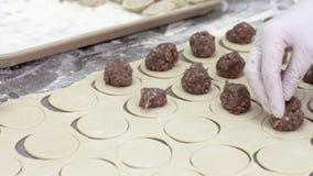 Le lavoratrici in guanti bianchi avvolgono la carne in pasta Produrre le polpette Fabbrica archivi video