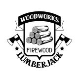 Le lavorazioni del legno identificano con legna da ardere e l'ascia Emblema per silvicoltura ed industria del legname royalty illustrazione gratis