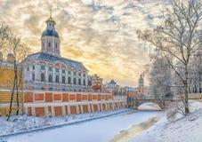 Le lavra d'Alexander Nevsky à un jour d'hiver givré Image libre de droits