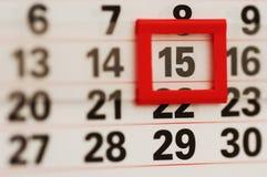 Le 15, le jour d'impôts, le jour de paie ou juste le moyen du mois ! Image libre de droits