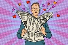 Le lecteur contrarié lit des actualités de vacances illustration libre de droits