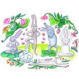 Le lepri stanno facendo gli esercizi di yoga illustrazione vettoriale