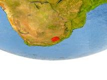 Le Lesotho en rouge sur le modèle de la terre Image libre de droits
