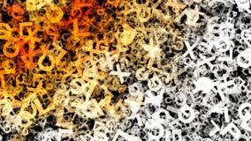 Le lettere in bianco e nero arancio dell'alfabeto di caos strutturano l'immagine di sfondo illustrazione di stock