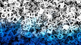 Le lettere in bianco e nero blu dell'alfabeto di caos strutturano l'immagine di sfondo illustrazione vettoriale