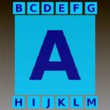 Le lettere blu del mosaico in un ciano mosaico quadrano Fotografie Stock Libere da Diritti