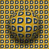 Le lettere D hanno modellato il rotolamento della sfera lungo la stessa superficie Illustrazione astratta di illusione ottica di  Fotografie Stock