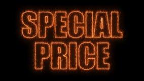 Le lettere del prezzo speciale mandano un sms a sul nero, fondo della rappresentazione 3d, computer che genera per vendere illustrazione di stock