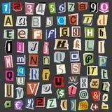 Le lettere dell'alfabeto del collage di vettore fatte dal testo della carta di ABC della rivista del giornale hanno tagliato il t Fotografia Stock Libera da Diritti