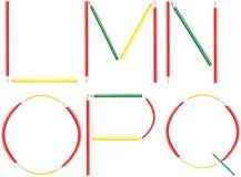 Le lettere dell'alfabeto delle matite di coloritura hanno messo il L-Q Fotografie Stock Libere da Diritti