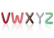 Le lettere dell'alfabeto latino sono fatte di plasticine colorato Fotografie Stock Libere da Diritti