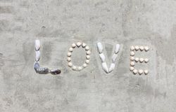 Le lettere di Shell fanno l'amore di parola sulla parete del cemento immagini stock libere da diritti