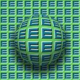 Le lettere E hanno modellato il rotolamento della sfera lungo la stessa superficie Illustrazione astratta di illusione ottica di  Immagine Stock
