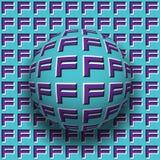 Le lettere F hanno modellato il rotolamento della sfera lungo la stessa superficie Illustrazione astratta di illusione ottica di  Fotografia Stock Libera da Diritti
