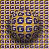 Le lettere G hanno modellato il rotolamento della sfera lungo la stessa superficie Illustrazione astratta di illusione ottica di  Fotografie Stock