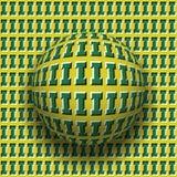 Le lettere I hanno modellato il rotolamento della sfera lungo la stessa superficie Illustrazione astratta di illusione ottica di  Fotografia Stock