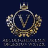 Le lettere a strisce dell'oro ed il monogramma iniziale in stemma si formano con la corona Corredo reale degli elementi e della f illustrazione vettoriale