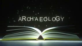 Le lettere volano via le pagine del libro aperto per formare il testo di ARCHEOLOGIA rappresentazione 3d illustrazione vettoriale