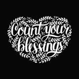 Le lettrage de main avec des citations comptent votre bénédiction avec des feuilles dans la forme du coeur sur le fond noir illustration stock