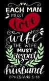 Le lettrage de main avec le vers de bible chaque homme doit aimer son épouse sur le fond noir illustration libre de droits