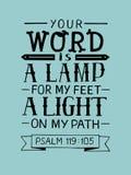 Le lettrage de main avec le vers de bible votre mot est une lampe mes pieds, une lumière sur mon chemin psaume illustration stock