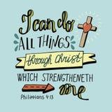 Le lettrage de main peut tout des choses par le Christ avec la croix Photos libres de droits