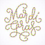 Le lettrage de Mardi Gras se composent de l'or, vert, perles pourpres illustration stock