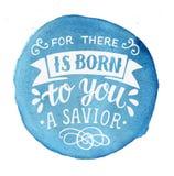 Le lettrage de Noël de bible pour là est né à vous un sauveur sur le fond bleu d'aquarelle illustration libre de droits