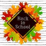 Le lettrage de nouveau à l'école sur la bannière noire avec l'érable part Image libre de droits