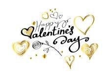 Le lettrage heureux de jour de valentines avec des coeurs et a monté sur le fond blanc Photos stock