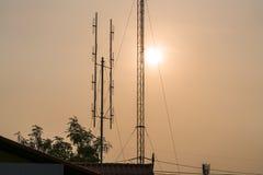 Le lever de soleil à la rive de Samut Prakan, Thaïlande Photos stock